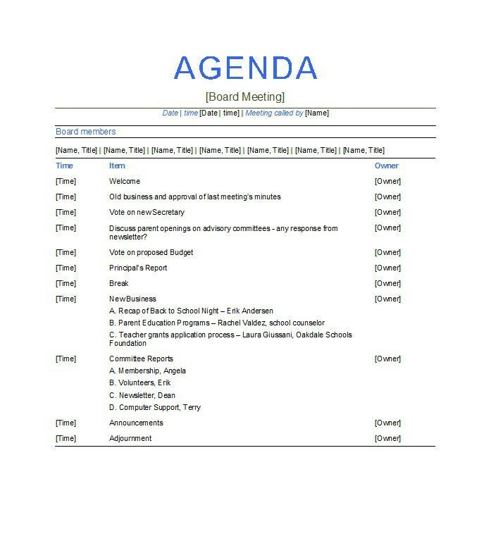 5+ Meeting Agenda Template – Free Download!!