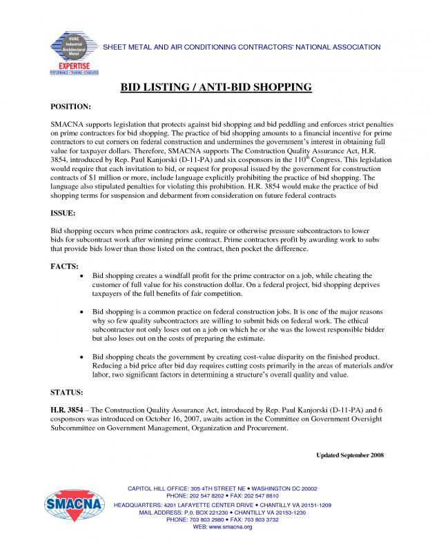 Contractor Bid Proposal Template Format Amp Sample Fax Job Blank ...