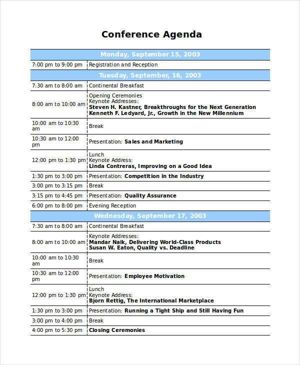 8+ Sample Professional Agenda - Free Sample, Example, Format ...