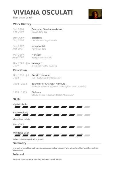 Customer Service Assistant Resume samples - VisualCV resume ...