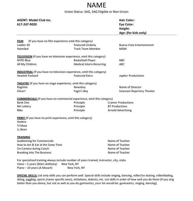 Clever Design Ideas Theater Resume Template 14 Resume Theatre ...