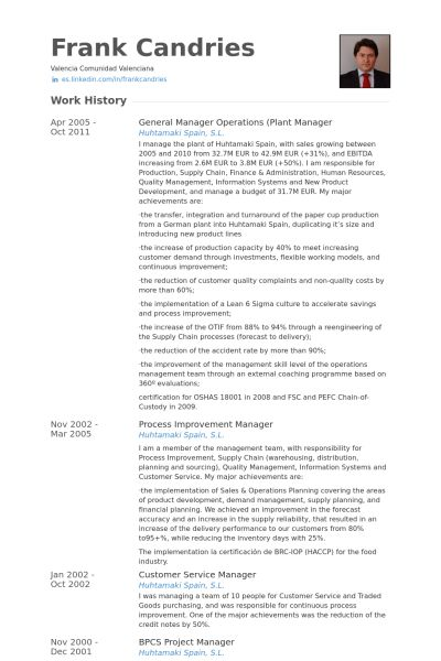 Plant Manager Resume samples - VisualCV resume samples database