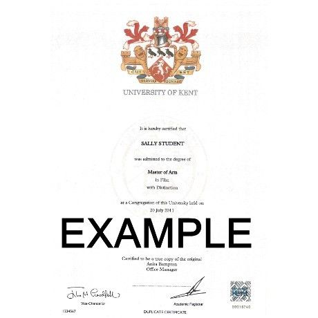 Authentication of Degree Certificate Request | University of Kent