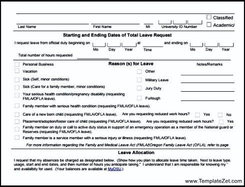 Format Of Leave Application Form [Template.billybullock.us ]