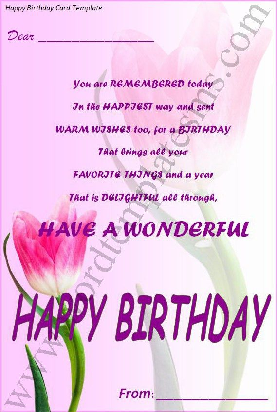 Happy Birthday Card Template Download Page | Word Excel Formats