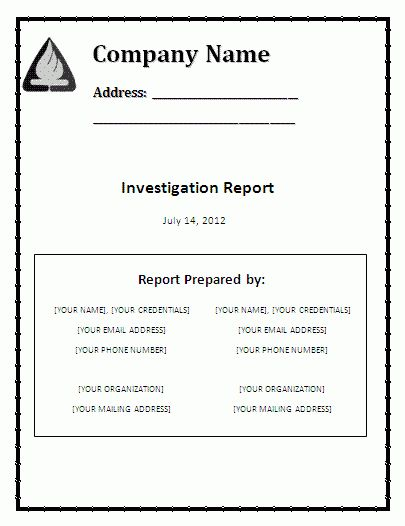 Word Investigation Report template | Free Report Templates