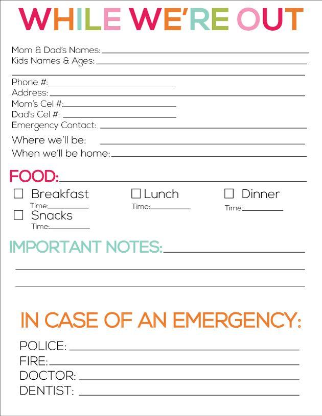 Printable Babysitter Notes | Babysitter notes, Babysitting and Note