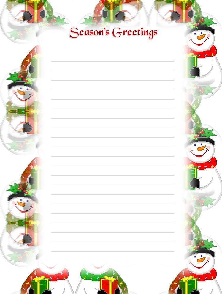 FREE Printable Lined Christmas Stationery - Holiday Money Savers ...