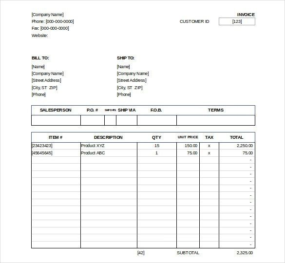 Excel Invoice Template – 22+ Free Excel Documents Download | Free ...