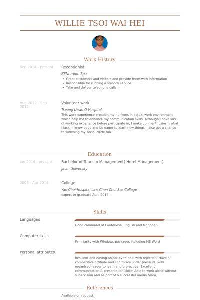 Receptionist Resume samples - VisualCV resume samples database