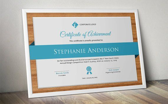 Wood corporate business certificate template for MS Word