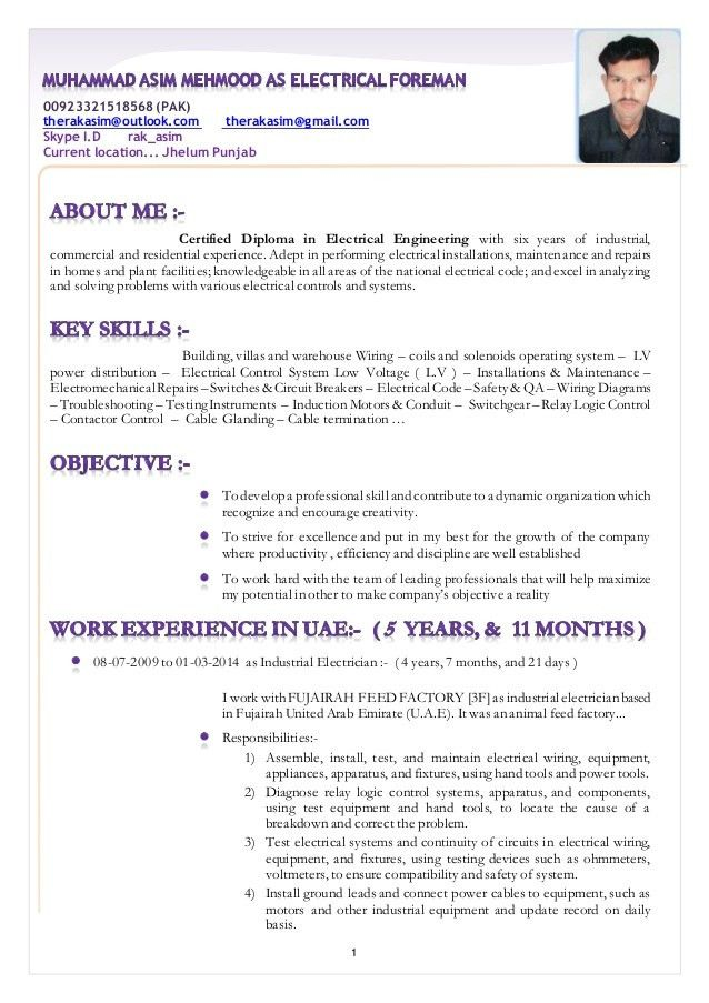 Industrial job resume