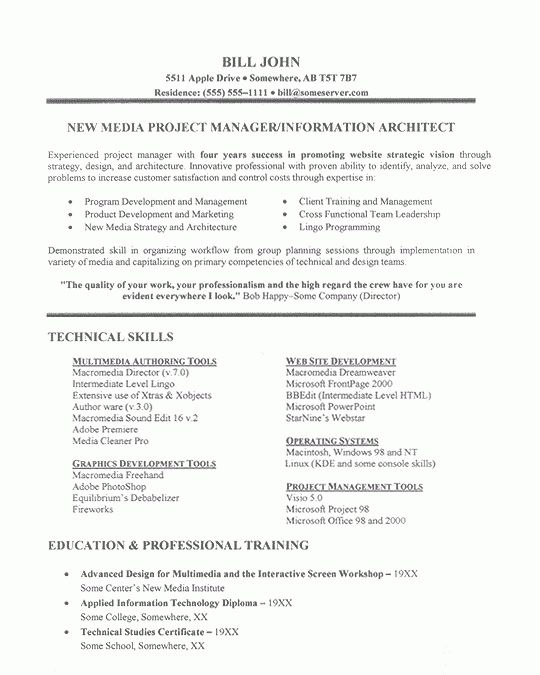 project manager resume example - Sample Resume For Project Manager