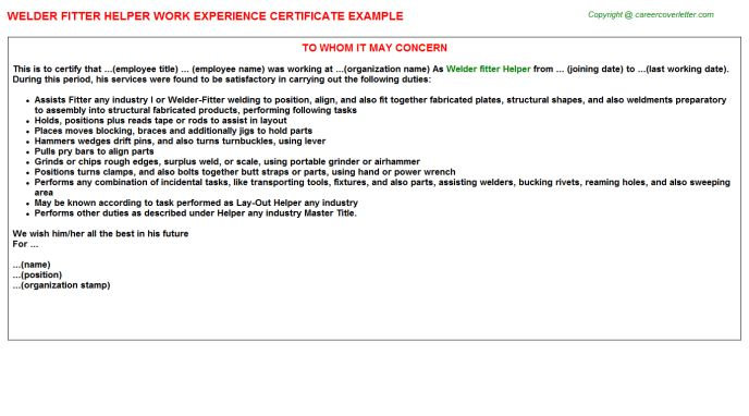 Welder Fitter Helper Work Experience Certificate