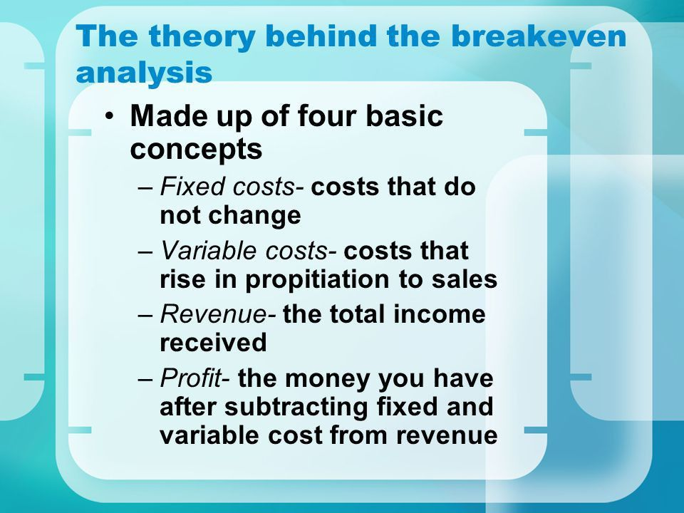 Tutorial: The Breakeven Analysis Michael Bokor. Order of the ...