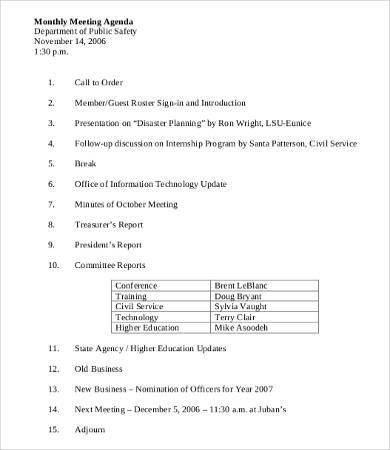 Department Meeting Agenda Template - 9+ Free Word, PDF Documents ...