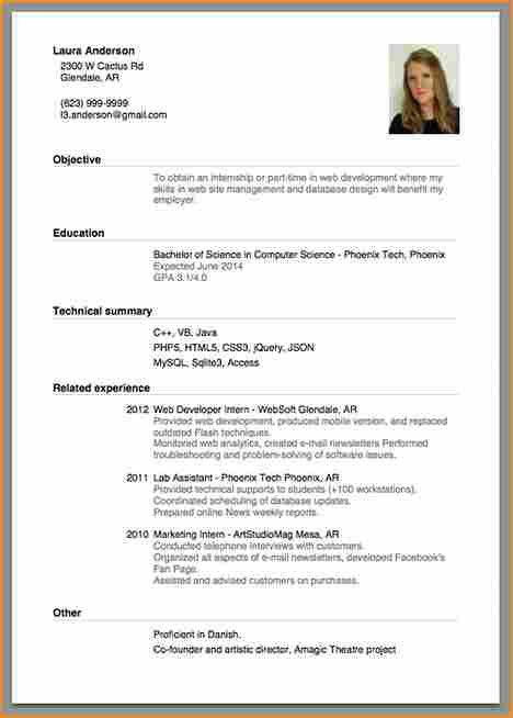 10+ format of a resume for job application - Basic Job Appication ...