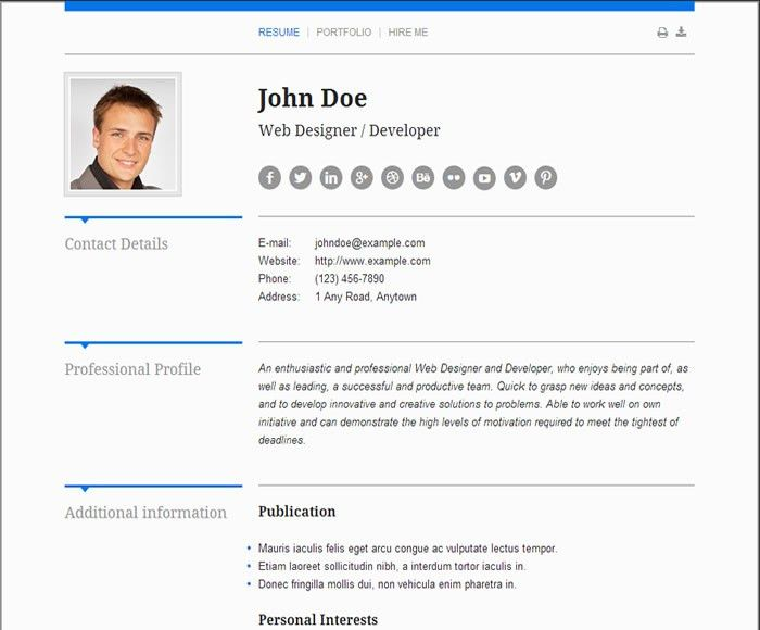 flatty cv responsive resume template. 30 best vcard wordpress ...