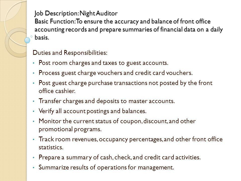 Night Auditor Job Description Sample Auditor Job Description