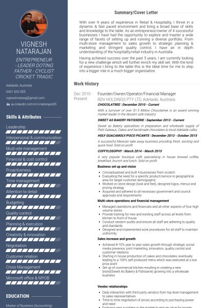 Financial Manager Resume samples - VisualCV resume samples database