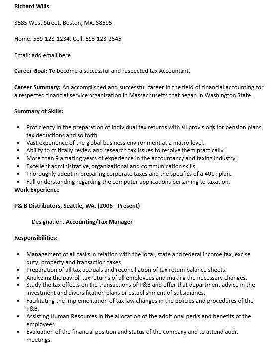 16 Free Sample Tax Associate Resumes – Sample Resumes 2016