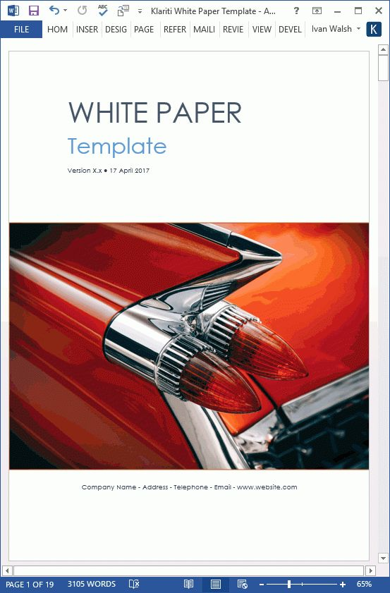 Automobile White Paper Template (MS Word)