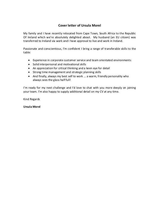 Ursula Morel Cover letter and CV..