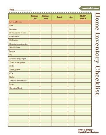 Use This Free Printable to Create an Inventory of Your Home ...