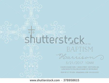 Baptism Christening First Holy Communion Invitation Stock Vector ...