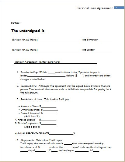 Personal Loan Agreement Sample for WORD | Document Templates