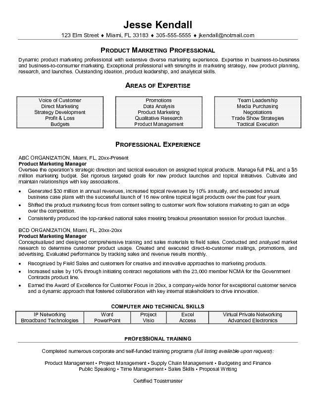 Professional Areas of Expertise of Product Manager Resume Sample ...