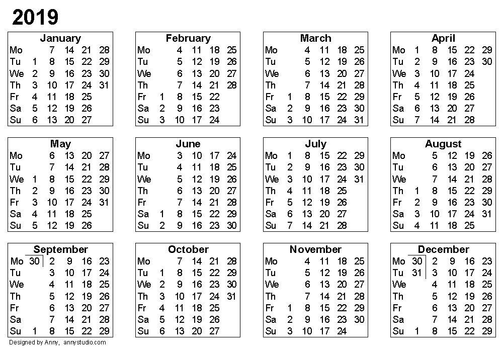 Blank 2019 Calendar | 2018 calendar printable