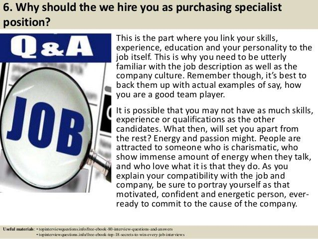 Top 10 purchasing specialist interview questions and answers