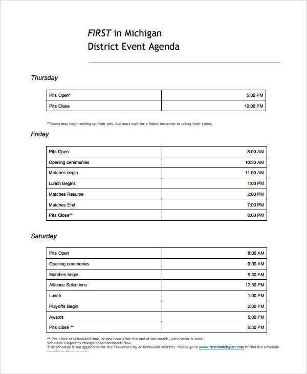 Event Agenda Sample. Printable Meeting Agenda Template Effective ...