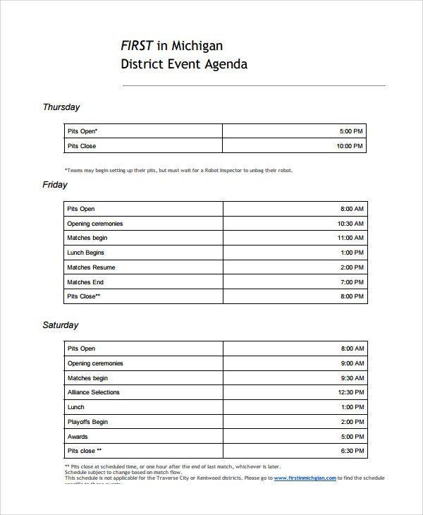 Event Agenda Sample. Easy Schedule Event Agenda Template Free ...