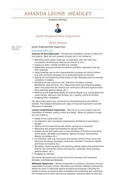 Site Supervisor Resume samples - VisualCV resume samples database
