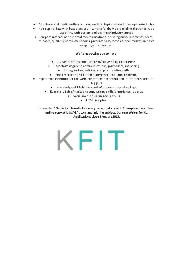KFit Content Writer Job Description