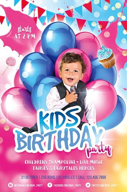 Kids Birthday Party Free Flyer Template - Download for Photoshop