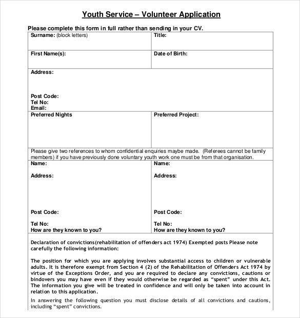 10+ Volunteer Application Templates – Free Sample, Example, Format ...