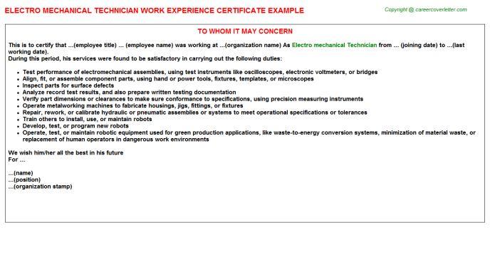 Electro Mechanical Technician Work Experience Certificate