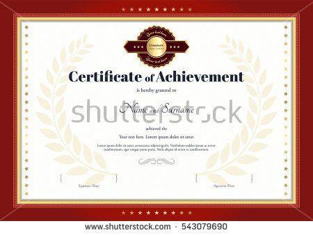 Certificate Achievement Template Vector Applied Thai Stock Vector ...