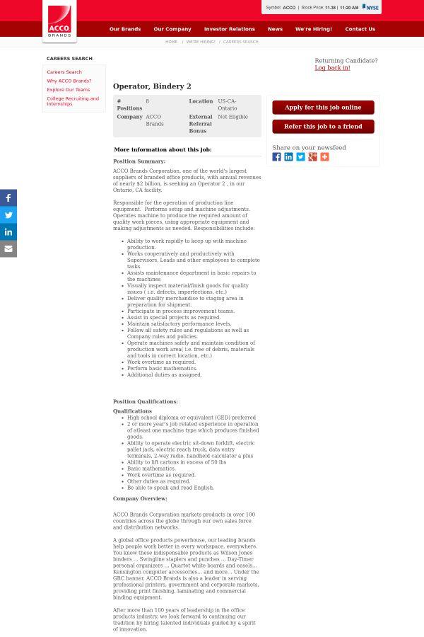 Operator, Bindery 2 job at Acco in California, USA | Tapwage Job ...