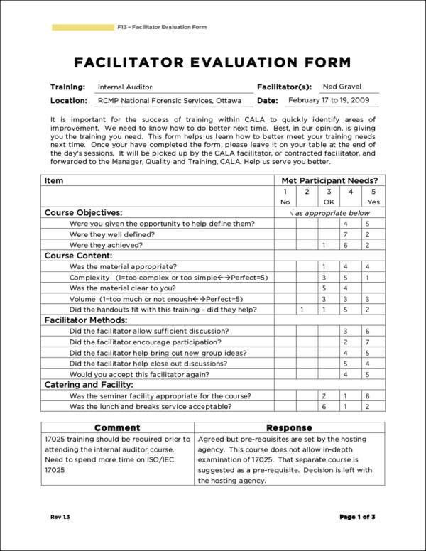 7+ Trainer Evaluation Forms In PDF
