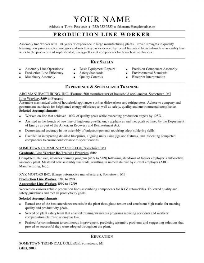 production resume sample