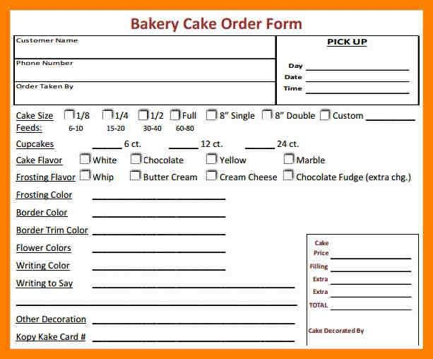 5+ cake order forms templates | packaging clerks