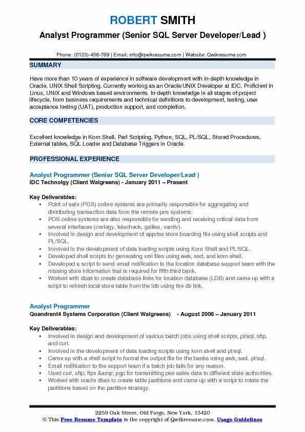 Bioinformatics Programmer Resume. chief software architect cover ...