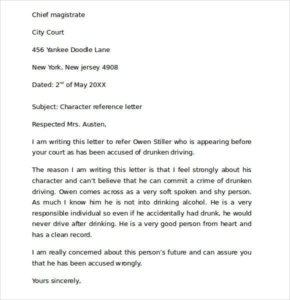 Character Reference Letter For Court Template | Template Design