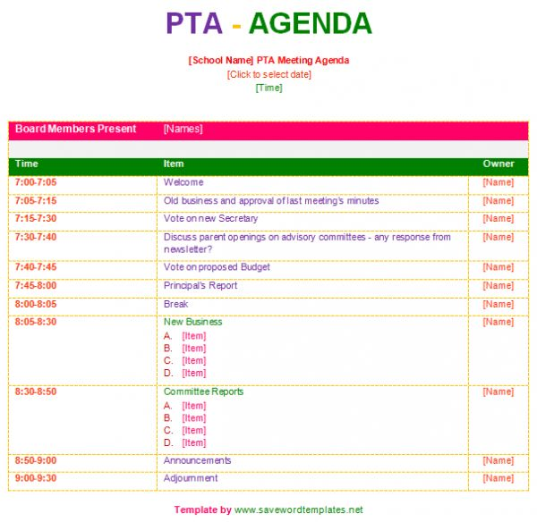 pta meeting agenda template
