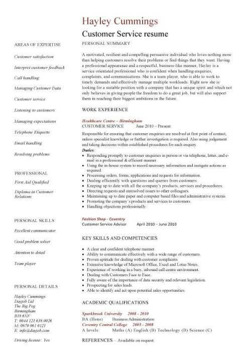 Customer Service Experience Resume 2 Customer 1 - uxhandy.com