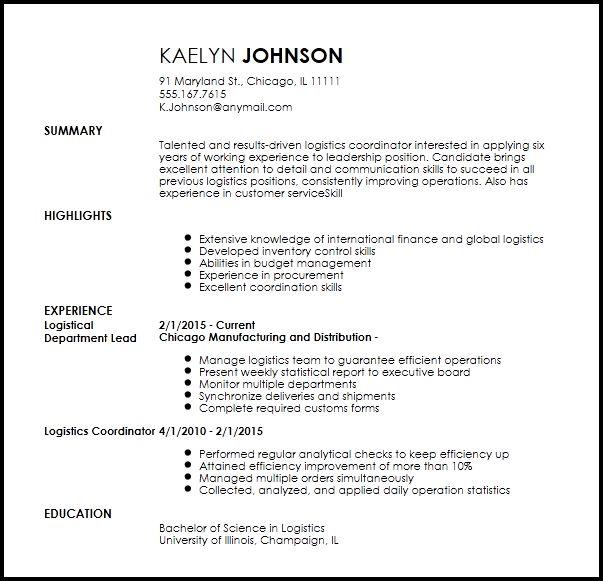Free Creative Logistics Coordinator Resume Template | ResumeNow